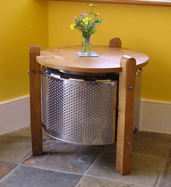 washing machine drum coffee table by recraftedinwales on etsy. Black Bedroom Furniture Sets. Home Design Ideas