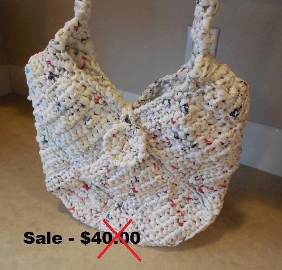 Handmade Crochet Purses : Crochet Purse - White - Plarn - Handmade Crochet - Shoulder Bag ...