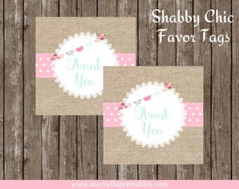 Shabby Chic Printable FAVOR TAGS by Marbella Printables