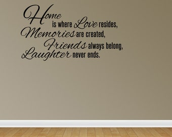 Wall Decal Quote Sticker Vinyl Lettering Home Is Where Love Resides Family (J551)