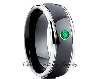 Tungsten Wedding Band,Tungsten Wedding Ring,Emerald Wedding Band,Anniversary Ring,Engagement Band,Black Tungsten Ring,Comfort Fit,8mm