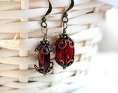 Red Earrings, Dangle earrings, Red Glass earrings, Vintage style Jewelry, gift for sister, gift for a friend, Boho earrings by MayaHoney