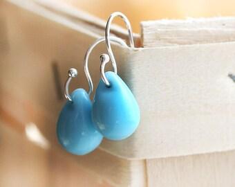 Blue Drop earrings, Blue earrings, Teardrop earrings, Briolettes, blue glass earrings, sterling silver, Simple, Minimal dangle earrings