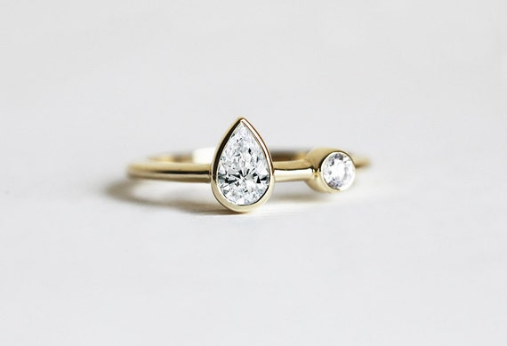 Unique Pear Diamond Ring Diamond engagement ring Two by MinimalVS