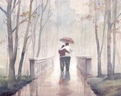 Romantic- Love in Autumn - Original Watercolor Archival Print - Love, Park, Autumn scene, Love story, Rainy day