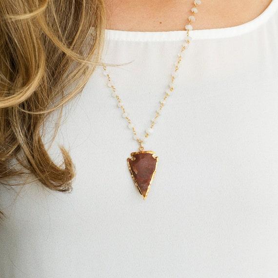 Stone Arrowhead Necklace, Moonstone Rosary Chain, Gold Arrowhead, Moonstone Necklace, Gold Necklace, Jasper Arrowhead Pendant