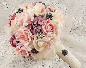 Dusty Rose&Ivory Wedding Bouquet,Brooch Bouquet,Jeweled Bridal Bouquet,Wedding Flowers,Choose Your Colorss,Made to Order,Jewelry-Fabric-Lace