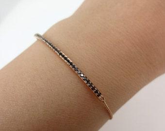 Black Diamond Bar Charm Bracelet set in 18k Rose Gold.
