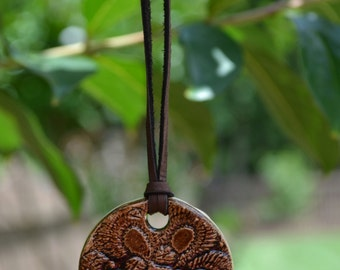 Brown Ceramic Pendant Necklace