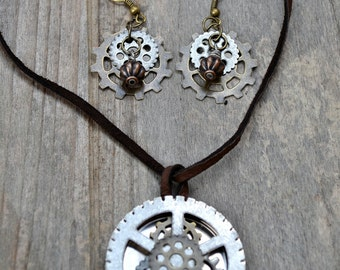 Steampunk Gear Necklace and Earring Set