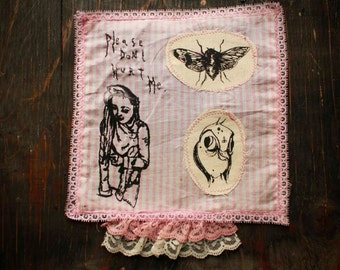 "SALE Pink Lacey Striped ""Please Dont Hurt Me"" Collage Back Patch"