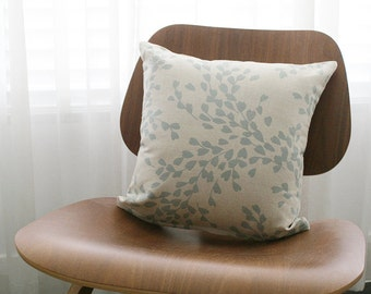 """16""""x16"""" Beige / Blue Gray Floral Throw Pillow Cover"""