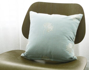 """16""""x16"""" Blue Embroidered Dandelion Throw Pillow Cover"""