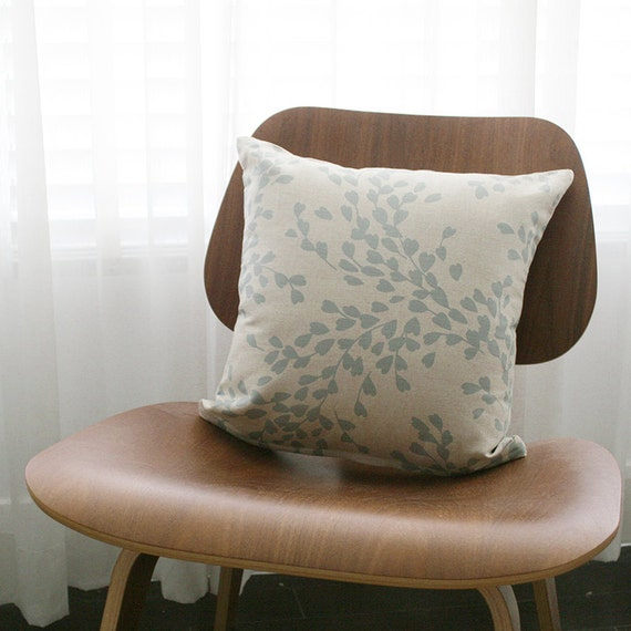 16x16 Beige / Blue Gray Floral Throw Pillow Cover