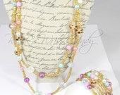 Beaded Necklace,Beaded Bracelet, Beaded Jewelry Set,Colorful,Seed Bead,Coil Beaded Bracelet,Handmade,Custom