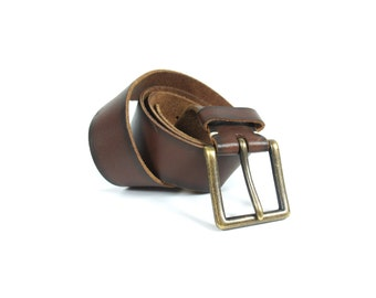 Soft Brown Leather Men's Belt with Gold Buckle