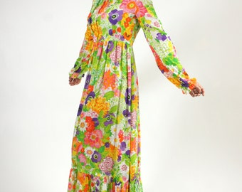 70s Vintage Floral Long Sleeve Green Dress Medium Psychedelic Flower Bright Flowy