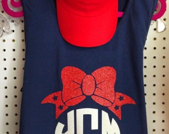 Monogram Comfort Color Bow Tank