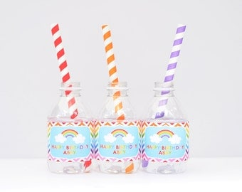 Rainbow Birthday Party Water Bottle Labels Printable Drink Wrappers Digital File Rainbow Chevron