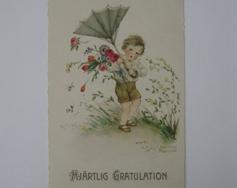 Hannes Petersen - Artist Signed Post Card - Windy Day - Used - 1906