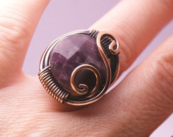 amethyst ring, wire wrapped jewelry handmade,  copper jewelry, copper ring, wire wrapped ring
