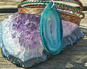 Good Vibes Turquoise Quartz Crystal Metal Stacker Set (Only one available)