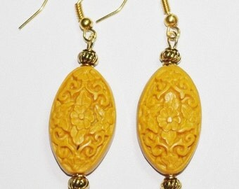ON SALE Cinnabar Pierced Earrings - Yellow and Gold - S1738
