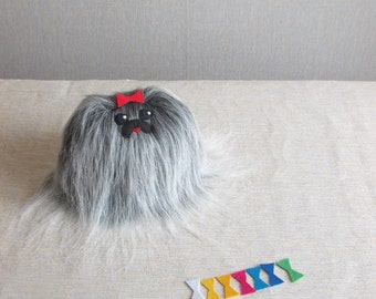 Dog, stuffed toy, children's toy, Pekingese, small toy, fluffy dog, dog toy, soft dog, plush toy, plush dog, fur toy,  Shih tzu, BLACK