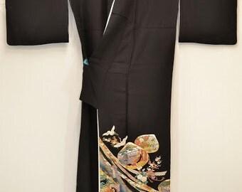 TOMESODE Kyoto Summer Festival KIMONO – Vintage Black Silk D73a