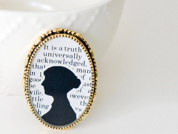Jane Austen Cameo Brooch - Pride and Prejudice Book Page Jewelry - Literary Gifts for Book Lovers