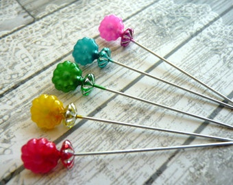 5 Rainbow Pearlized Flower Decorative Beaded 2 inch Stick Pins - Sewing Pins - Scrapbook Cardmaking Embellishment Pins