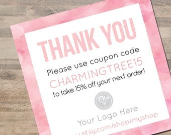 Coupon Code Card, Pink Watercolor Design