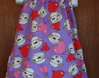 Lamb Chop Red & Pink Hearts Girls Pillowcase Dress, Made to Order Size 6m, 9m, 12-18m, 18-24m, and Size 2 to 3, Rare Vintage Fabric