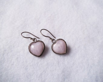 Pretty Vintage PINK QUARTZ Heart Earrings