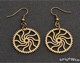 Sun Gears Earrings - steampunk, bronze, metal, handmade