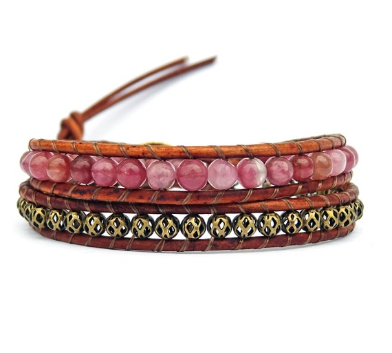Pink Tourmaline & Brass Beads - Leather Wrap Bracelet
