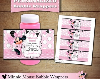 Light Pink Minnie Mouse Bubble Wrappers, Bubble Wrappers, Minnie Mouse, Goodie Bag Stuffer, Personalized Minnie Mouse Wrapper, DIY Printable