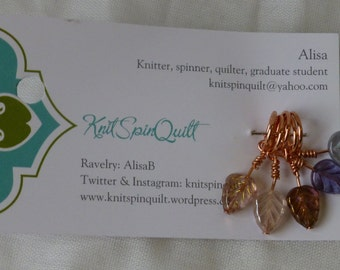 Snag-free knitting stitch markers -- set of five -- leaves with copper wire, Czech glass beads