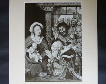 1920s Antique Quinten Massys Print, Available Framed, Christian Art, Madonna and Child Decor, Religious Wall Art, Adoration of the Kings