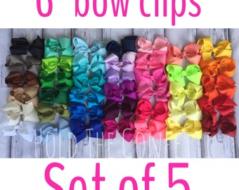 "Ready To Ship / 6"" bow clips / Set of Five / You pick colors / Baby Bows / Boutique Bows / Girls Bows"
