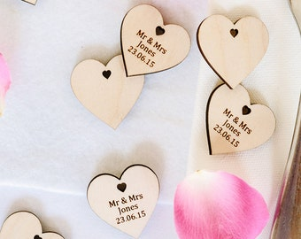 Wooden Hearts, Personalised Wedding Favors,Favours, Save the date
