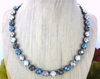 DENIM FLARE Swarovski crystal necklace, beautiful every day 8mm crystal bling by Siggy Jewelry