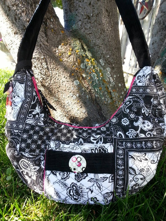 Black White and Pink Quilted Hobo Style Purse  With Pockets