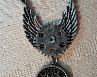 Steampunk Winged Clock and Gear Necklace