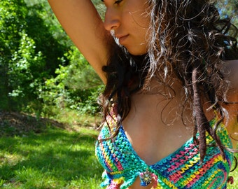 Psychedelic Sun Cotton Crochet Top SALE
