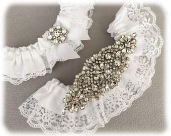 White LaceBridal Garter Set, Lace Wedding Garter Set, White Garter Set, Rhinestone Garter, Personalized Garter Set