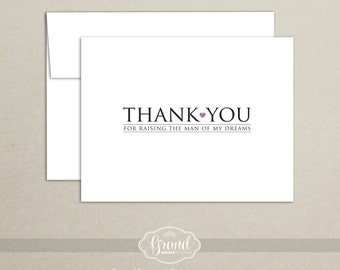 Thank You for Raising the Man of My Dreams - Mother in Law Thank You Card - Wedding Day Thank You Card - Note Card