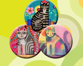 FUNKY CATS  -  Digital Collage Sheet 1.313 inch round images for 1 inch buttons. Instant Download #213.