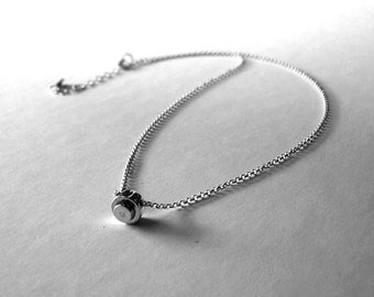 Handmade delicate solid sterling silver Lego necklace.