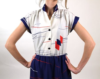 Vintage summer dress, sailor dress, women day dress, navy blue, red white 90s dress, S/M